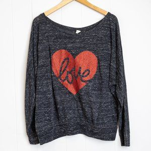 Bella Canvas 'love' in a Glitter Heart Wide Neck Long Sleeve Grey T-shirt, 2XL